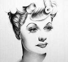 Lucille Ball Minimal Portrait by IleanaHunterArt