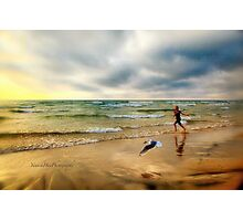 The Girl and The Seagull Photographic Print