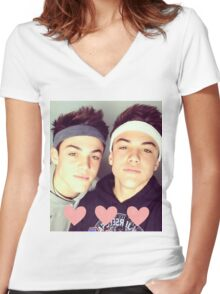 the dolan twins Women's Fitted V-Neck T-Shirt