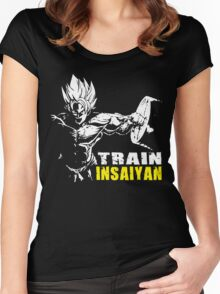 TRAIN INSAIYAN (Goku Hardcore Squat) Women's Fitted Scoop T-Shirt