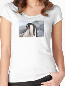 "Gentoo Penguin and Chick ~ ""Meals Home Delivered"" Women's Fitted Scoop T-Shirt"