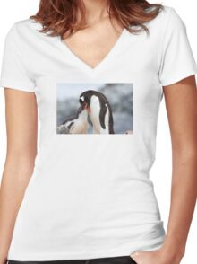"Gentoo Penguin and Chick ~ ""Meals Home Delivered"" Women's Fitted V-Neck T-Shirt"
