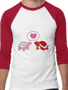 Red and Pink Love Turlte Men's Baseball ¾ T-Shirt