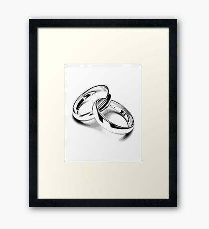 Wedding Bands. Just Married. Newlyweds. New Wife. New Bride. New Groom. New Husband. Wedding Rings. Framed Print