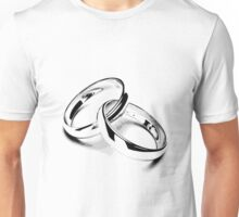 Wedding Bands. Just Married. Newlyweds. New Wife. New Bride. New Groom. New Husband. Wedding Rings. Unisex T-Shirt