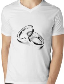 Wedding Bands. Just Married. Newlyweds. New Wife. New Bride. New Groom. New Husband. Wedding Rings. Mens V-Neck T-Shirt