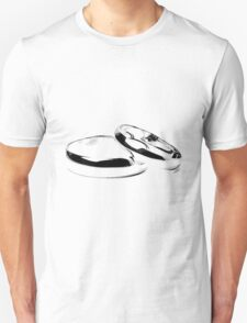 Wedding Bands. Just Married. Newlyweds. New Wife. New Bride. New Groom. New Husband. Wedding Rings. T-Shirt