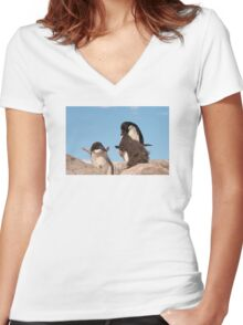"Adelie Penguin and chicks ~ ""and WHEN do I get fed!!"" Women's Fitted V-Neck T-Shirt"