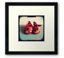 Tiny toes - red chinese baby shoes Framed Print