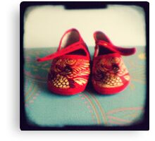 Tiny toes - red chinese baby shoes Canvas Print