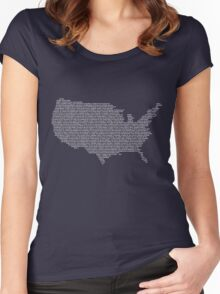 America Constitution Shape Map Women's Fitted Scoop T-Shirt