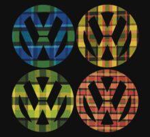 Volkswagen Plaid Patterns VW Logo Westfalia Bus Kids Tee