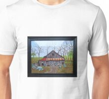 Very old barn with tractor Unisex T-Shirt