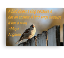 Inspiration from Maya Angelou Canvas Print