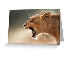 Lioness displaying dangerous teeth Greeting Card