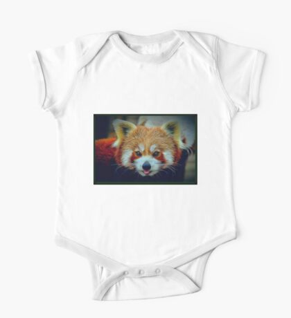 Red Panda with border One Piece - Short Sleeve
