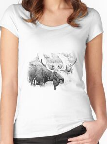 Bull Moose. Wildlife Moose. Moose Antlers. Canadian Moose. Alaskan Moose. Women's Fitted Scoop T-Shirt