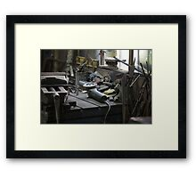 workbench in the workshop Framed Print