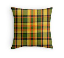 Yellow Green Orange Plaid Vintage Volkswagen Westfalia Pattern Throw Pillow