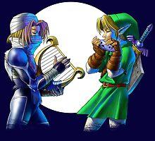 The legend of Zelda - Ocarina of Time - Sheik & Link by cesimagina