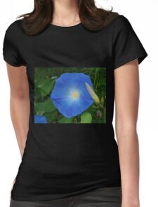 One Blue Morning Glory Womens Fitted T-Shirt