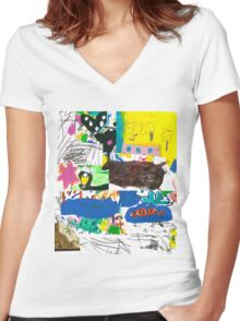 then and now Women's Fitted V-Neck T-Shirt