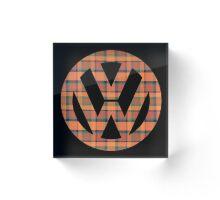 Orange Green Plaid Vintage Volkswagen Westfalia Pattern Acrylic Block