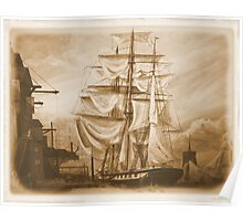 Drying Sails in Sepia Poster