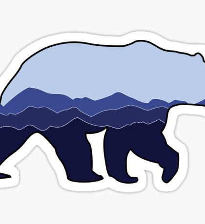 Bear Graphic- Blue, Mountains Sticker