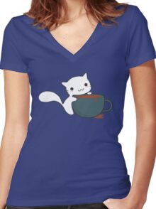 Cute Cat and Coffee Women's Fitted V-Neck T-Shirt