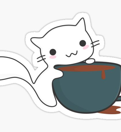 Cute Cat and Coffee Sticker