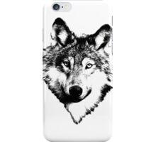 Wise Wolf Face. Animal Prints. Digital Wildlife Engravings. iPhone Case/Skin