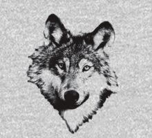 Wise Wolf Face. Animal Prints. Digital Wildlife Engravings. Kids Clothes