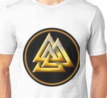 Norse Valknut - Gold and Black Unisex T-Shirt