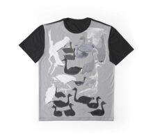Black and white waterbird print Graphic T-Shirt