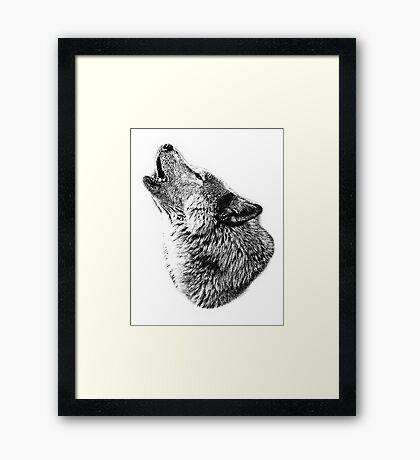 Wolf Howling. Digital Wildlife Image. Framed Print