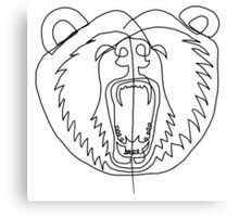 One Line - Bear roaring Canvas Print