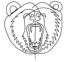 One Line - Bear roaring Photographic Print