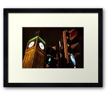 Big Ben - Green Man - Red Light Framed Print