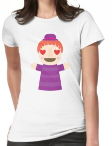 Puppet Show Emoji Heart and Love Eyes Womens Fitted T-Shirt