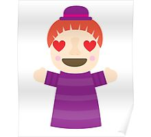 Puppet Show Emoji Heart and Love Eyes Poster
