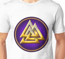Norse Valknut - Gold and Purple Unisex T-Shirt