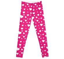 Scattered Hearts - Bright Pink Leggings