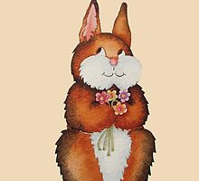 cute brown Bunny smiling and colourful flowers art  by pollywolly