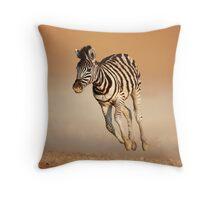 Baby zebra running Throw Pillow