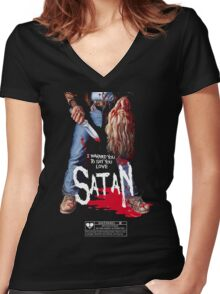 Say You Love Satan 80s Horror Podcast - Maniac Women's Fitted V-Neck T-Shirt