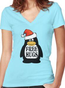 Hugs the Christmas Penguin Women's Fitted V-Neck T-Shirt