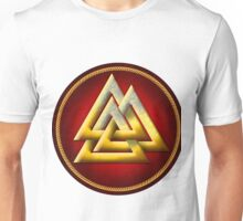 Norse Valknut - Gold and Red Unisex T-Shirt