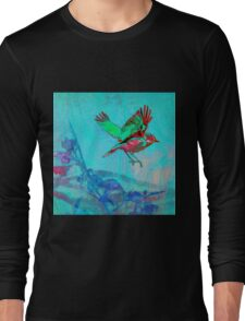 Teal Bird in Flight Wood Block Print Long Sleeve T-Shirt