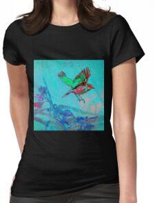 Teal Bird in Flight Wood Block Print Womens Fitted T-Shirt